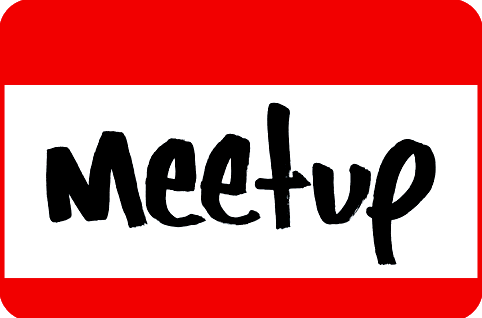 A MeetUp badge used when making friends
