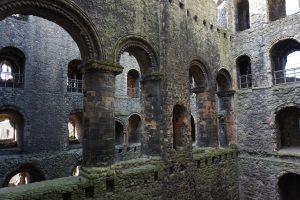 The interior of a historic stone castle.