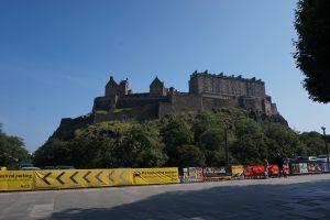 Edinburgh Castle sat up high on a green mountaintop.