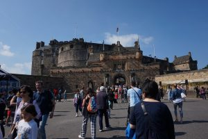 Walking up to the front entrance of Edinburgh Castle.
