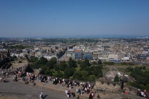 The view from high up in Edinburgh Castle.