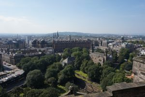 The view of shops and buildings in Edinburgh, Scotland.