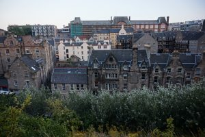 Houses of different colours and shapes in Edinburgh, Scotland.
