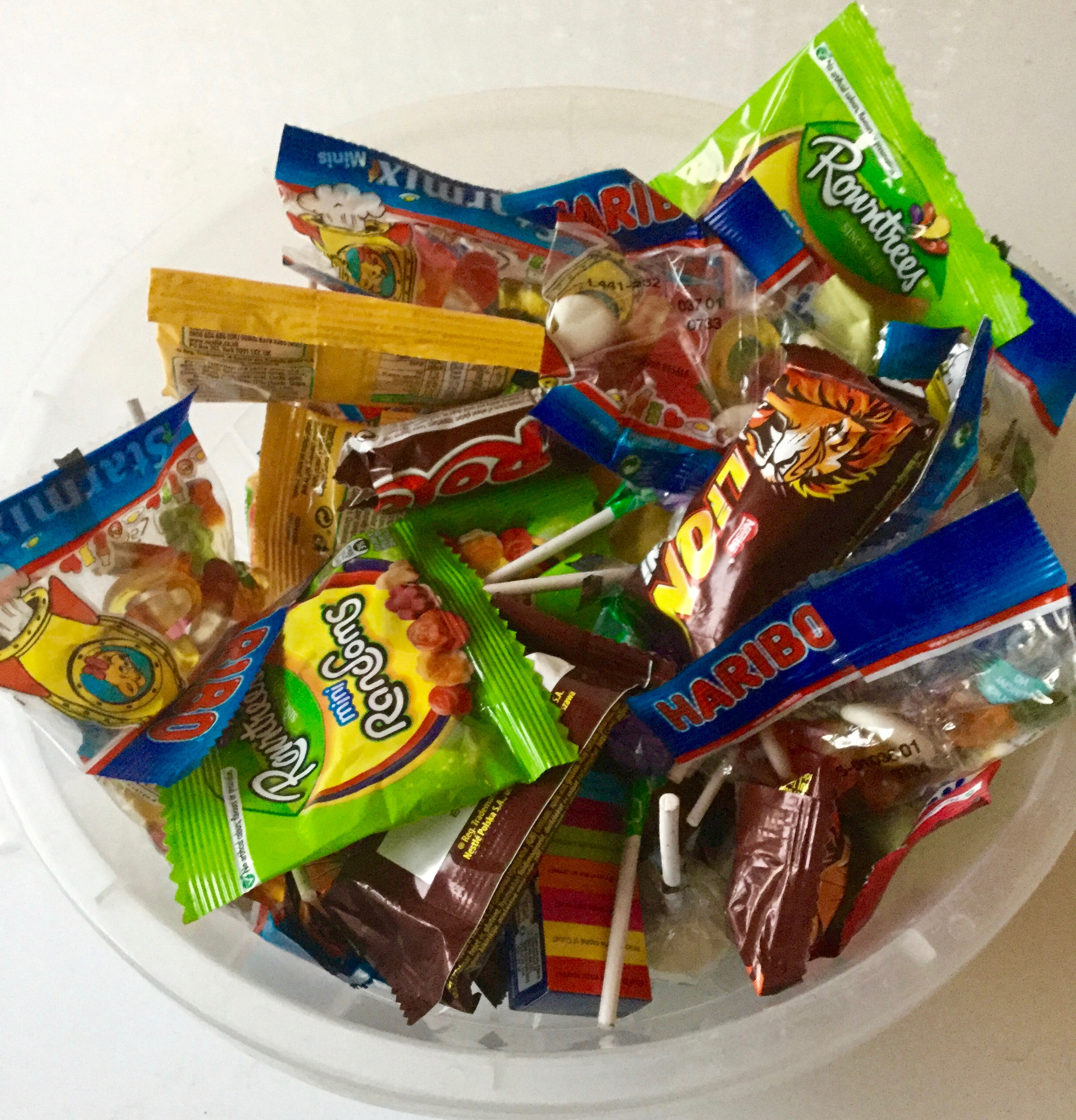 A bowl of various English sweets ready to be handed out at Halloween.