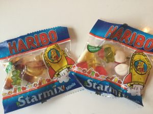 A selection of three types of British sweets given out at Halloween.