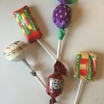 A selection of three types of British lollies given out at Halloween.
