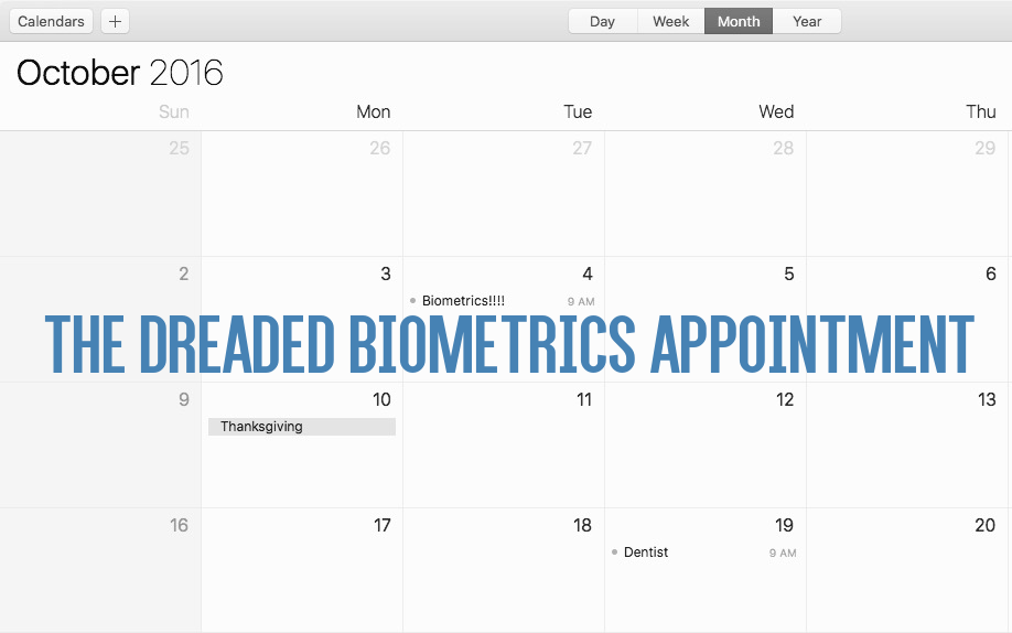 "A calendar for October 2016 with a ""Biometrics Appointment"" listed for Oct. 4."