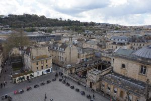 The view of historic houses and shops in Bath, England.