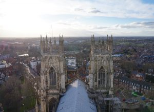 The view of York, England from the top of York Minster.